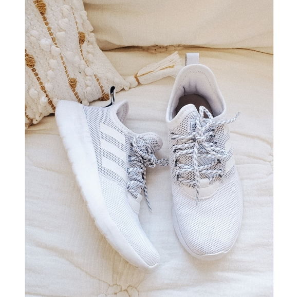 Adidas White Lace Up Cloudfoam Sneakers